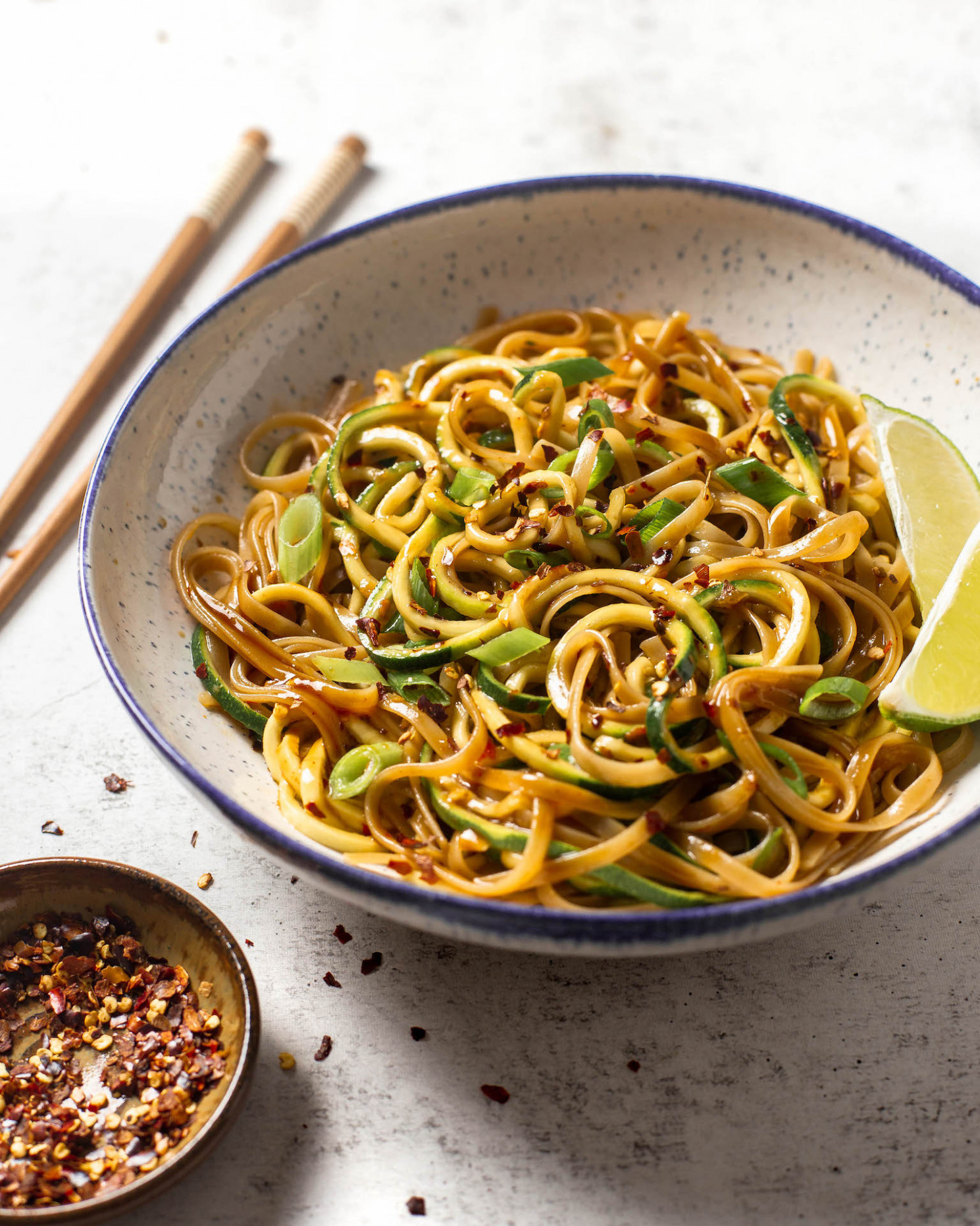 12-Minute Chili Garlic Brown Rice Noodles & Zoodles