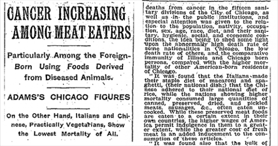 1907 New York Times Article Shows Meat Causes Cancer