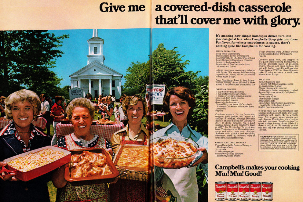 1977 Food Ad, Campbell's Casserole Layout With 4 Recipes, The Lordship Community Church In CT, Plus Cookbook Offer (2 Page Color Advert)