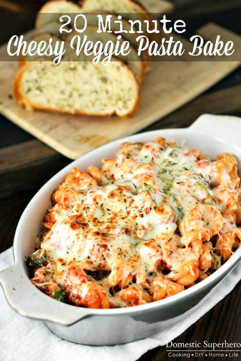 8 Minute Cheesy Vegetable Pasta Bake