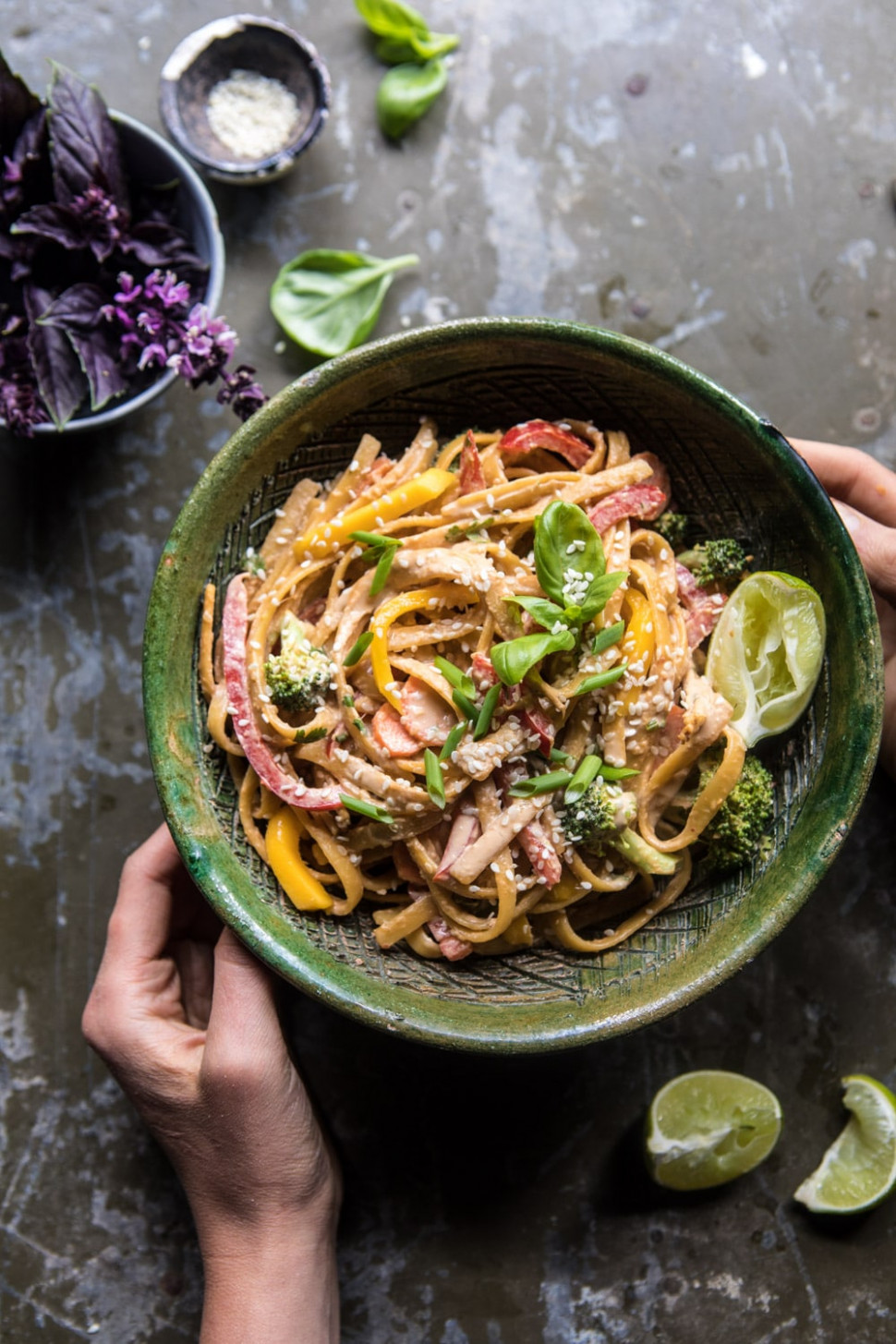 9 Minute Sesame Basil Chicken Noodles
