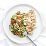Almond Pesto Zoodles With Chicken And Cherry Tomatoes