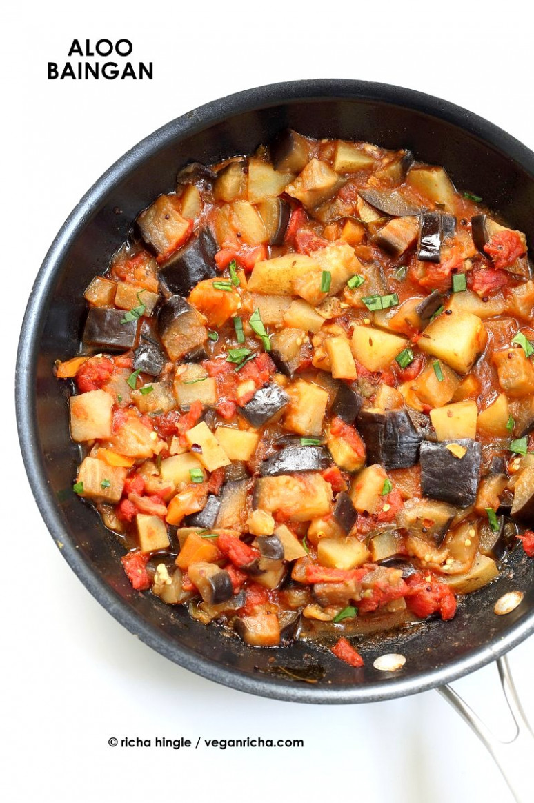 Aloo Baingan Recipe - Potato Eggplant Curry - Vegan Richa