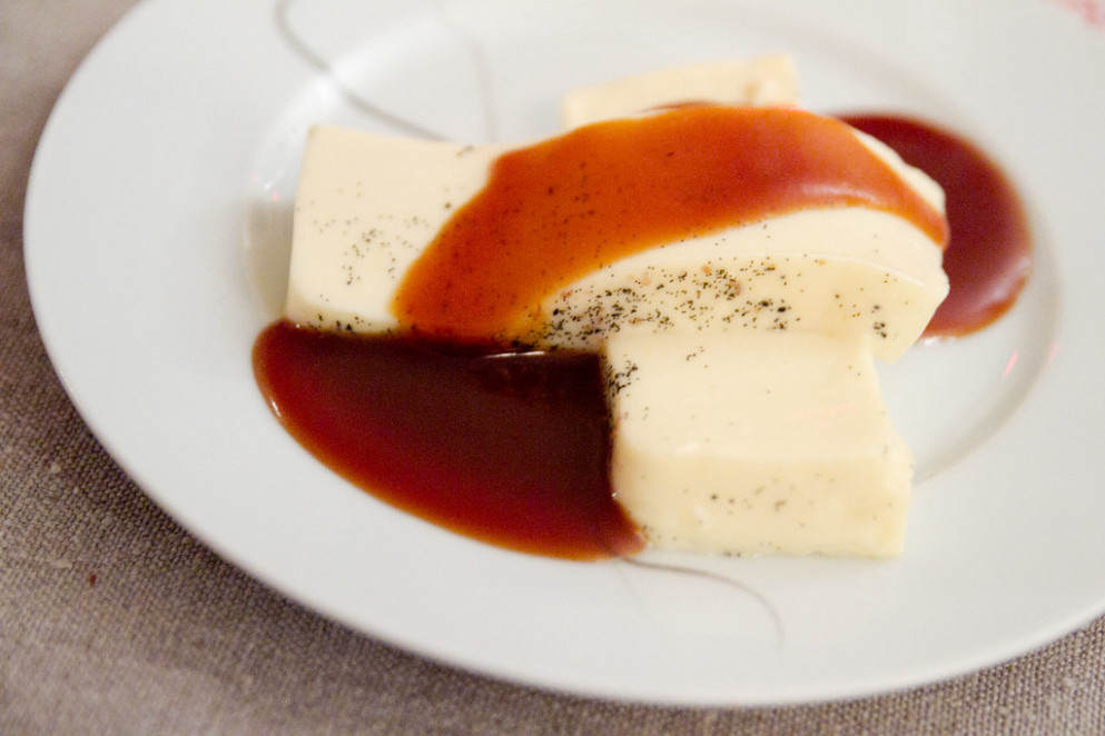 And for dessert, panna cotta and caramel sauce
