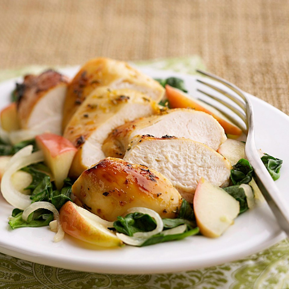 Apple-Glazed Chicken with Spinach Recipe - EatingWell