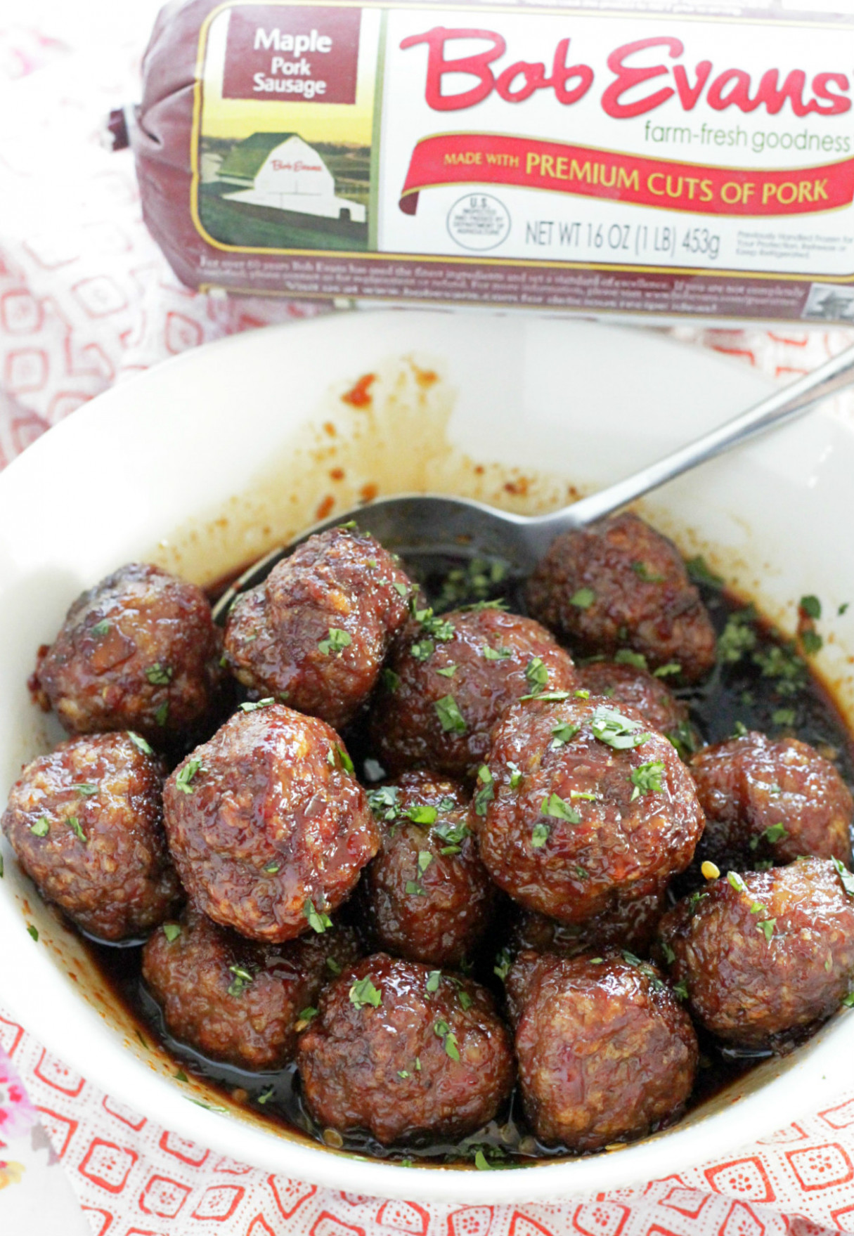 Asian Maple Sausage Meatballs - Foodtastic Mom