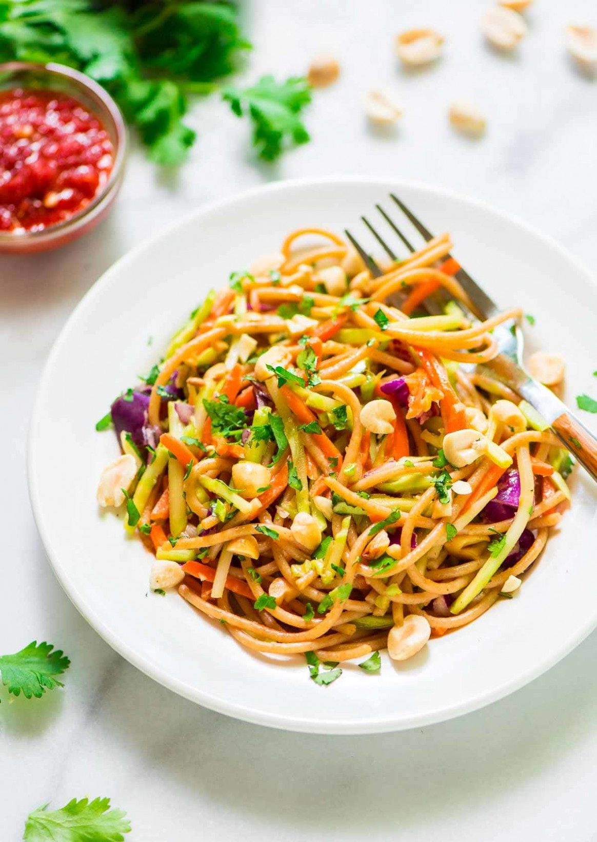Asian Noodle Salad with Creamy Peanut Dressing | Well ...