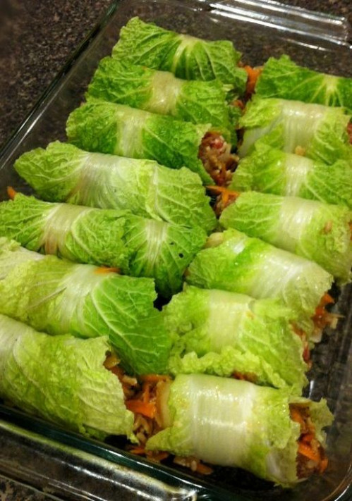 Asian Stuffed Napa Cabbage Rolls | Recipe | Cabbages ...
