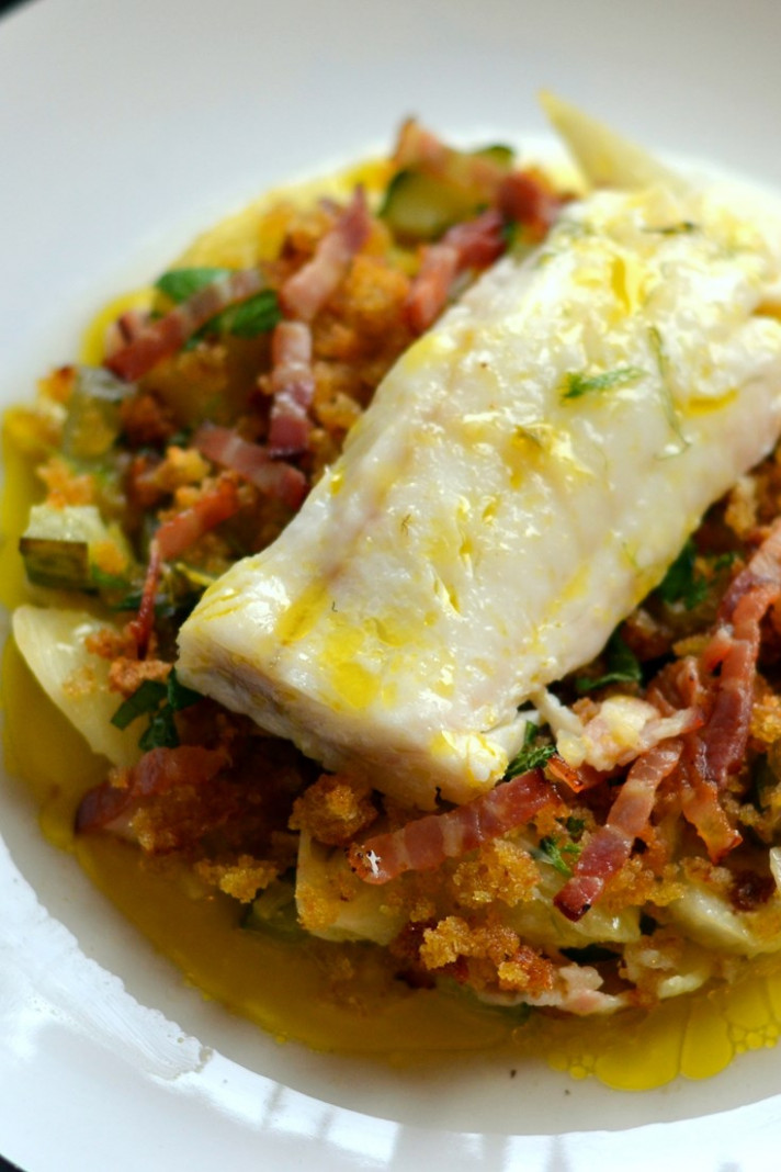 Baked Cod Loin Recipe with Braised Cucumber - Great ...