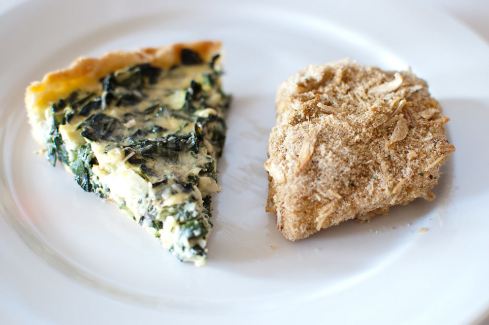 Baked Halibut with Kale Tart