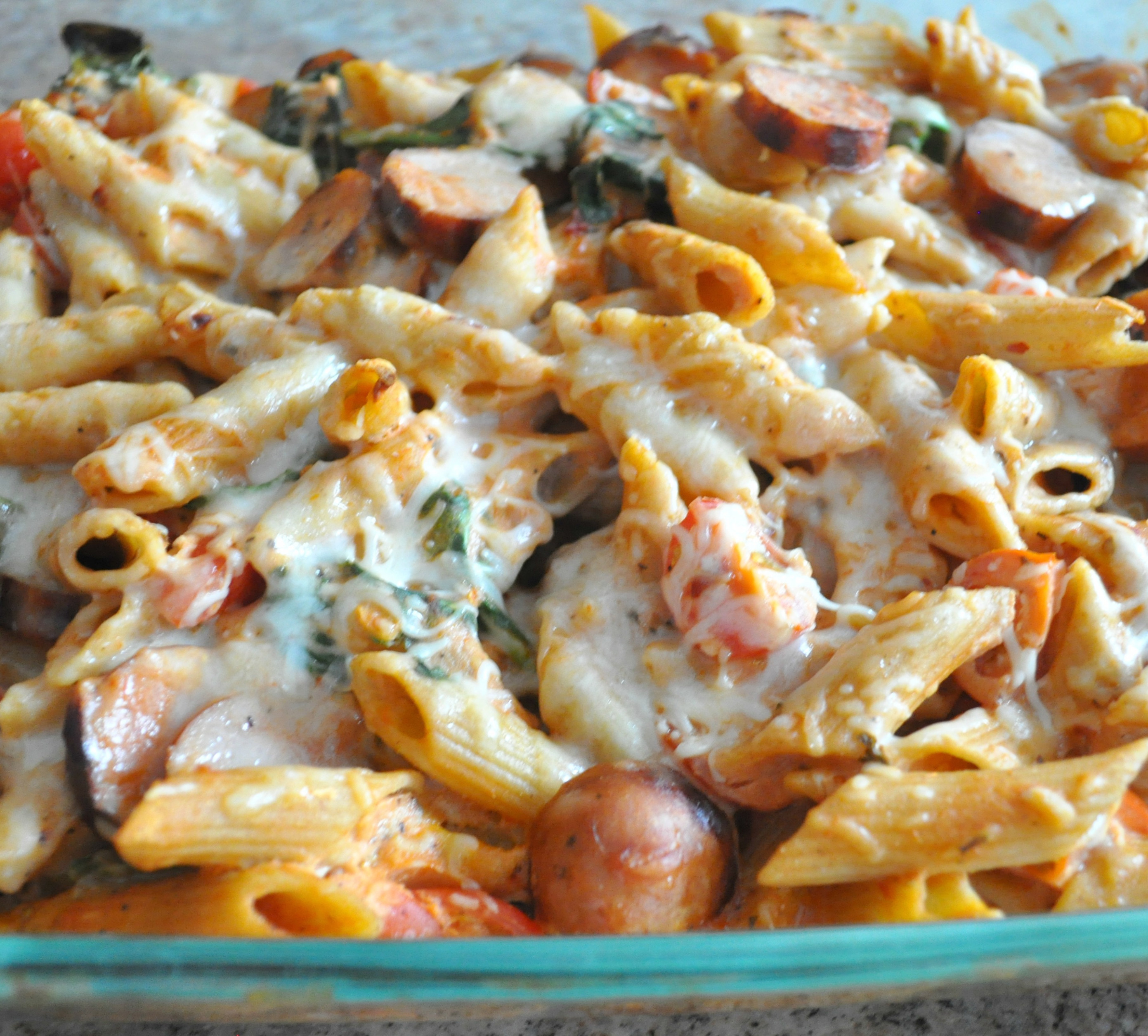 Baked Penne with Chicken Sausage, Spinach, Tomatoes and ...
