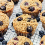 Banana Blueberry Oat Muffins (made With Whole Wheat Flour And Honey)
