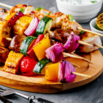 bbq grilled chicken & veggie kabobs
