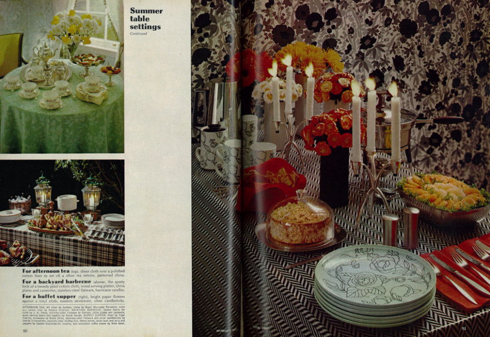 Beautiful 1967 Summer Table Settings for Parties (2-page layout)
