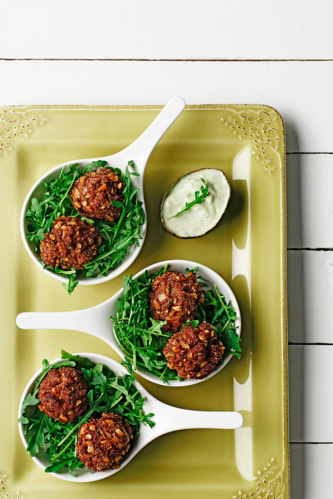 Beef Peanut Meatballs with Avocado Dressing 2