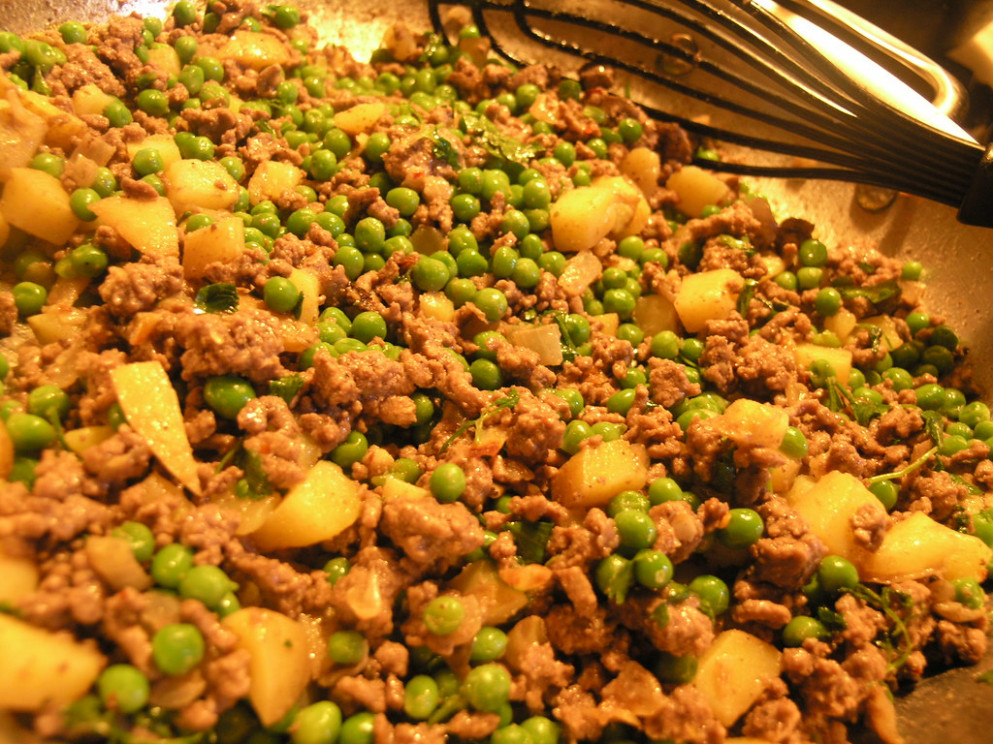 beef, peas and potatoes