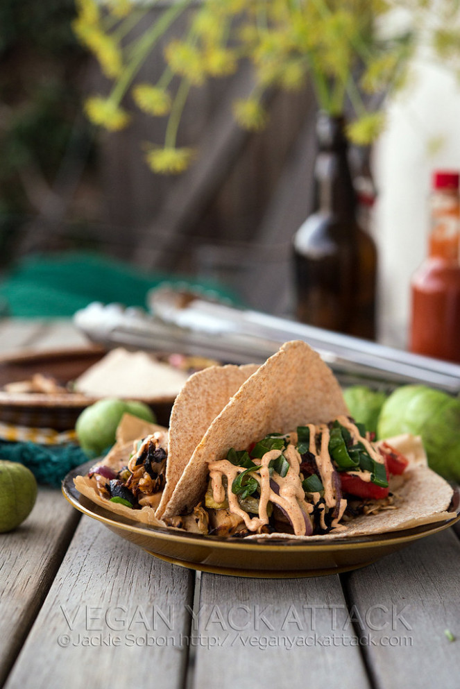 Beefy Jackfruit Tacos with Fajita Filling