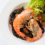 Black Spaghetti With River Prawn