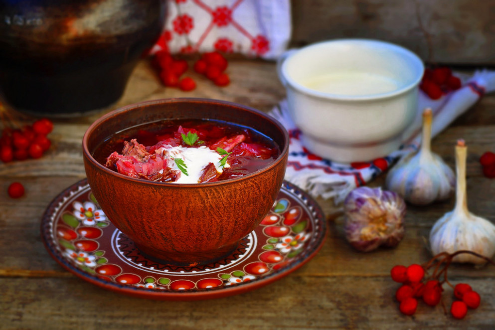 borsch, traditional Ukrainian beet and sour cream soup