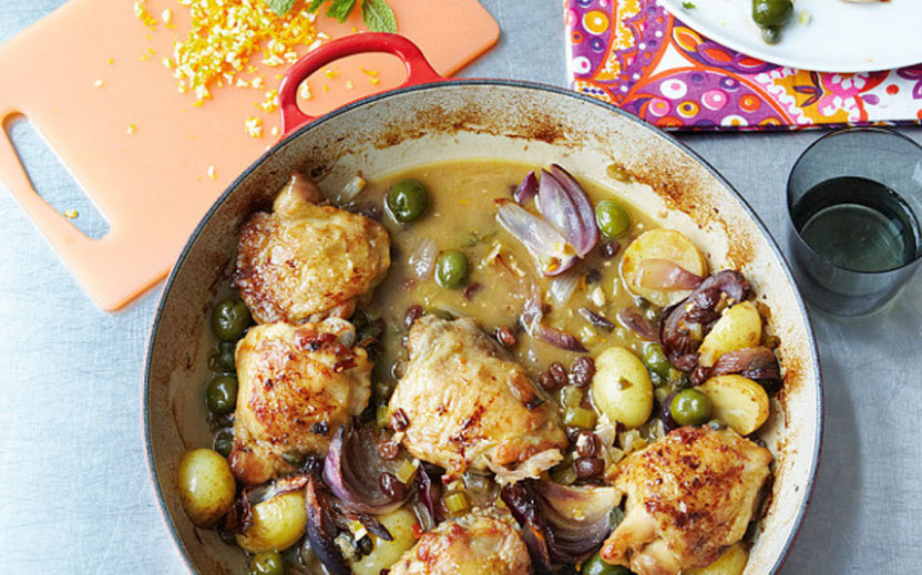 Braised chicken with olives and pine nuts recipe - Telegraph