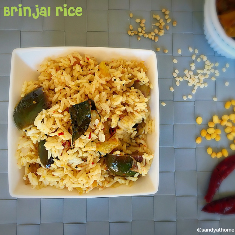 Brinjal rice, Kathirikai sadam, How to make brinjal rice ...