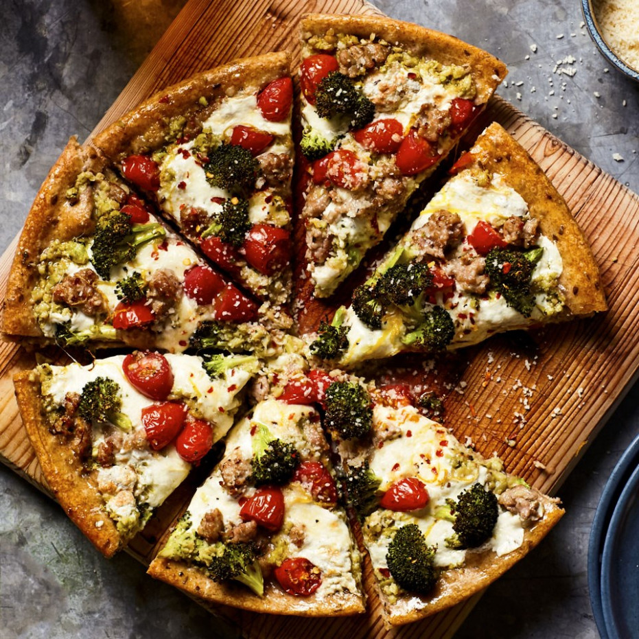 Broccoli & Sausage Skillet Pizza Recipe - EatingWell