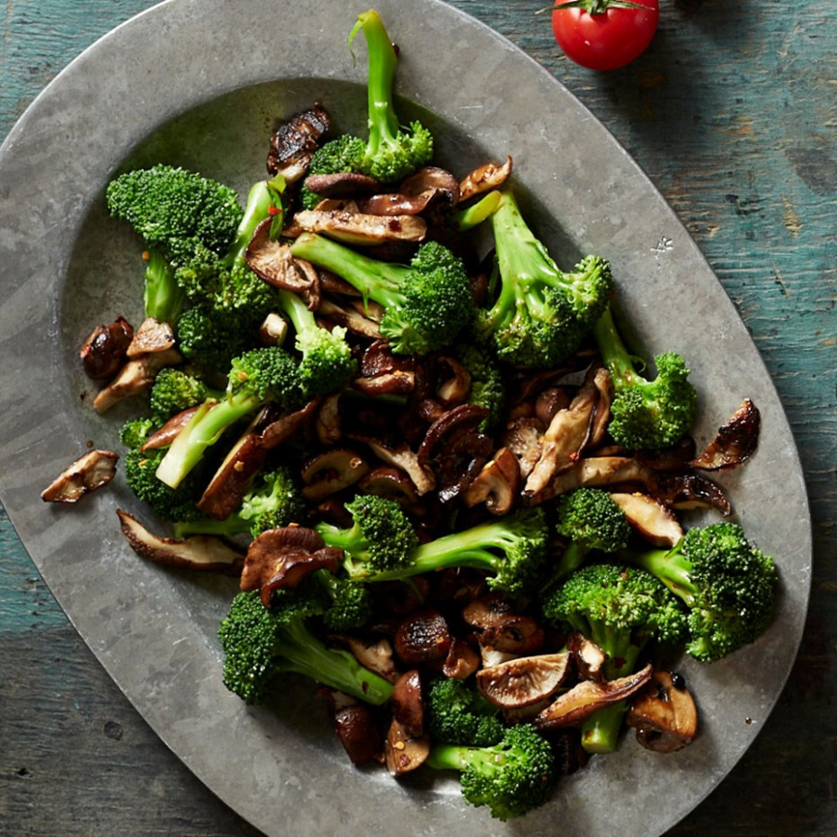 Broccoli with Balsamic Mushrooms Recipe - EatingWell