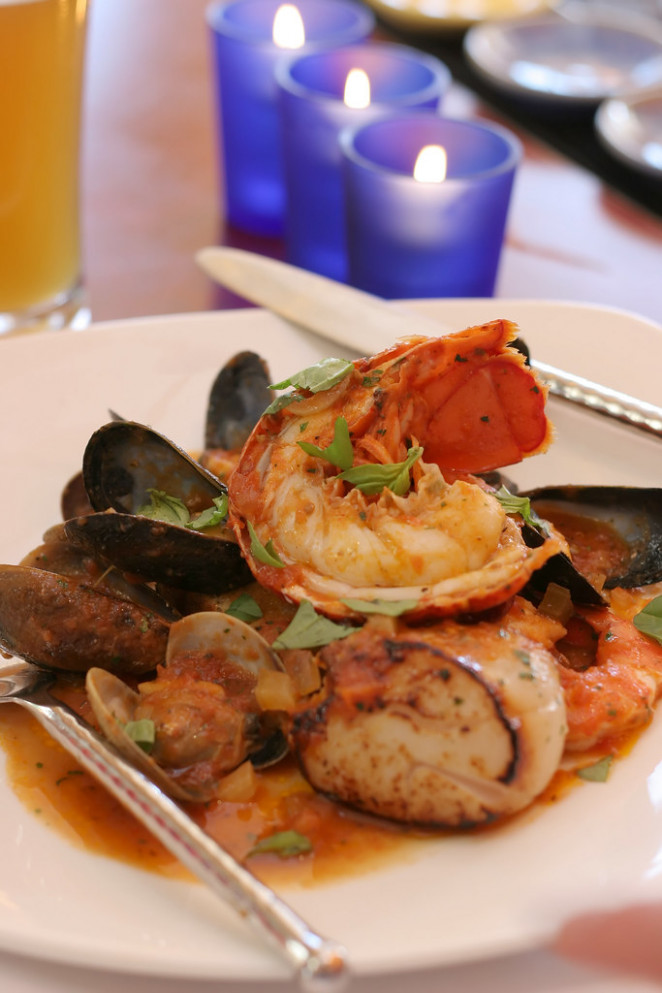 Broiled lobster, scallops and mussells