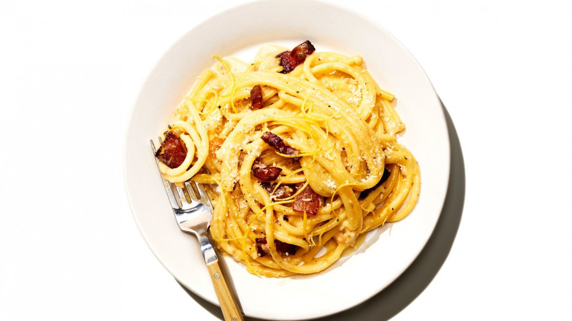 Bucatini with Lemony Carbonara Recipe | Bon Appetit
