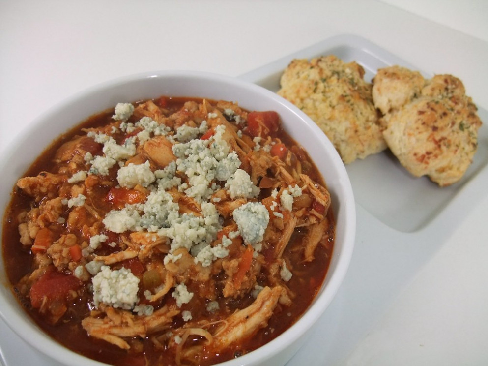 Buffalo Chicken Chili and Cheddar Bay Biscuits