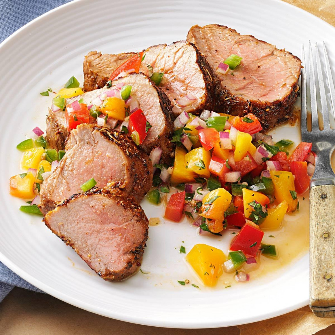 Caribbean-Spiced Pork Tenderloin with Peach Salsa Recipe ...