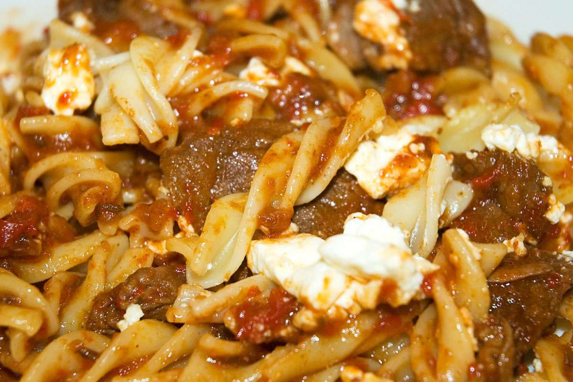 Casserole of Lamb, Bell Pepper and Pasta with Feta Cheese ...
