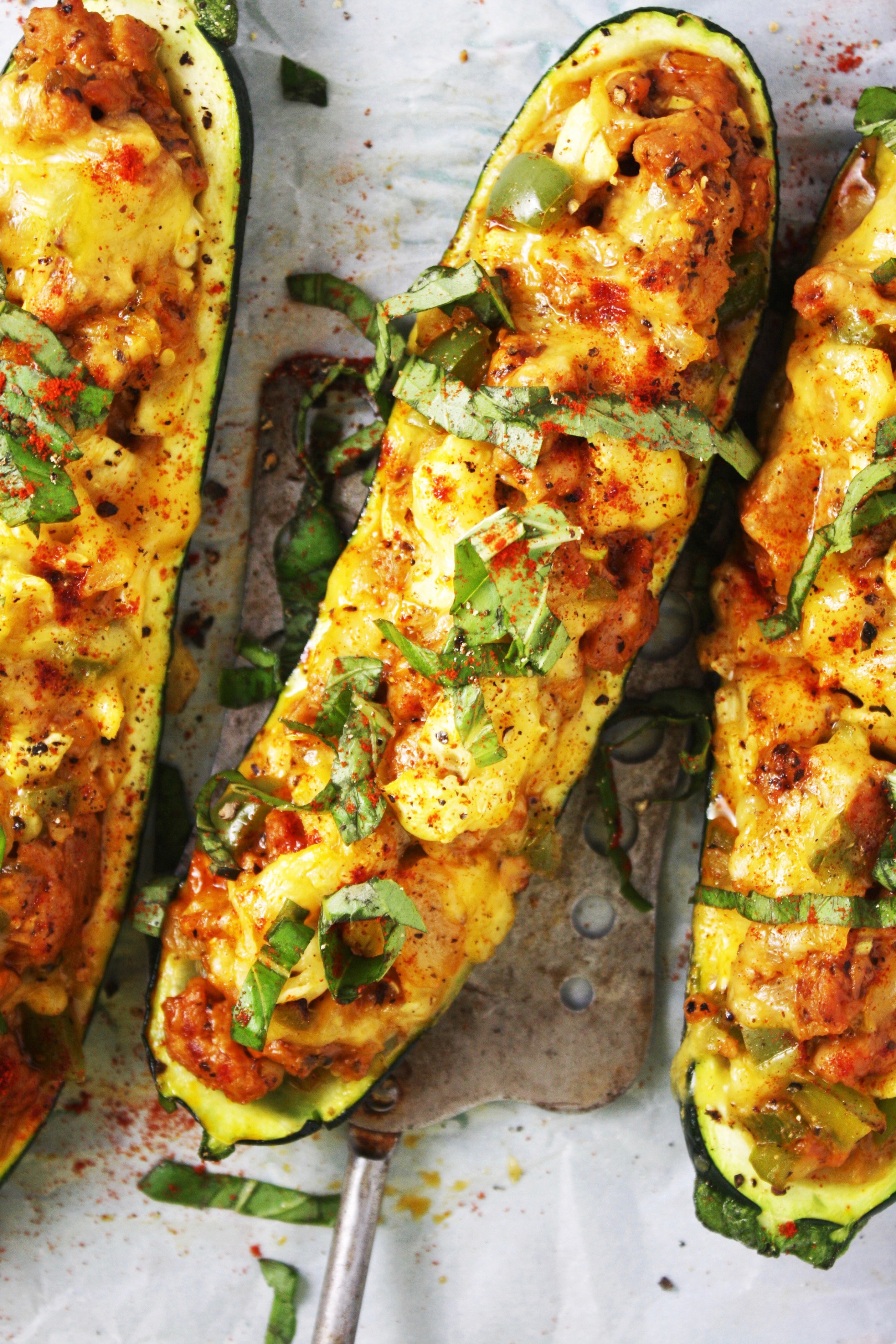 Cheddar And Sausage Stuffed Zucchini Boats