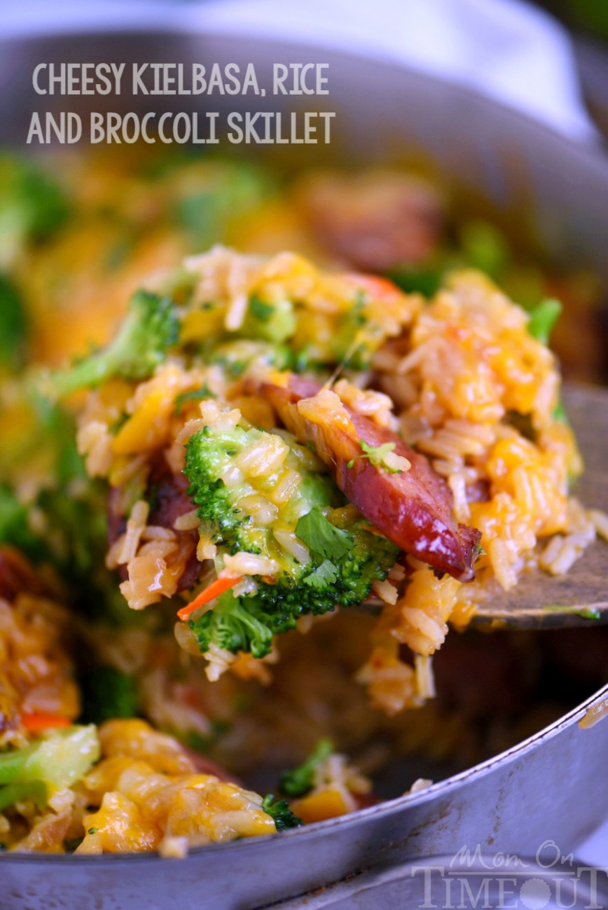 Cheesy Kielbasa, Rice and Broccoli Skillet