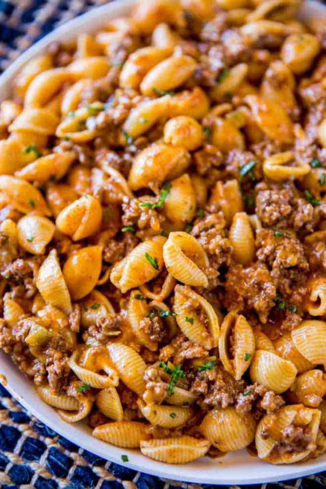 Cheesy Taco Pasta - Dinner, then Dessert