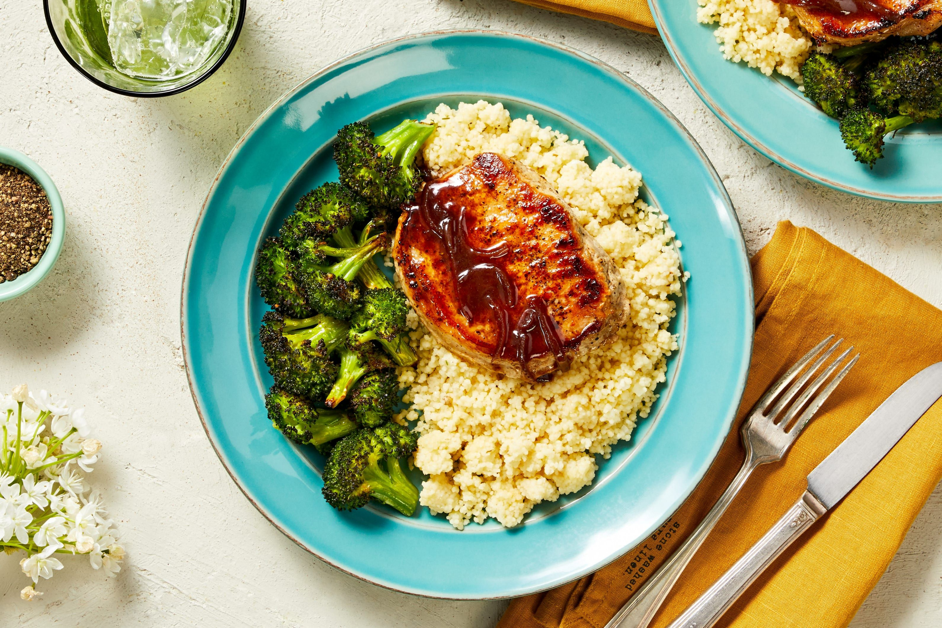 Cherry Balsamic Pork Chops with Garlic Herb Couscous and Roasted Broccoli