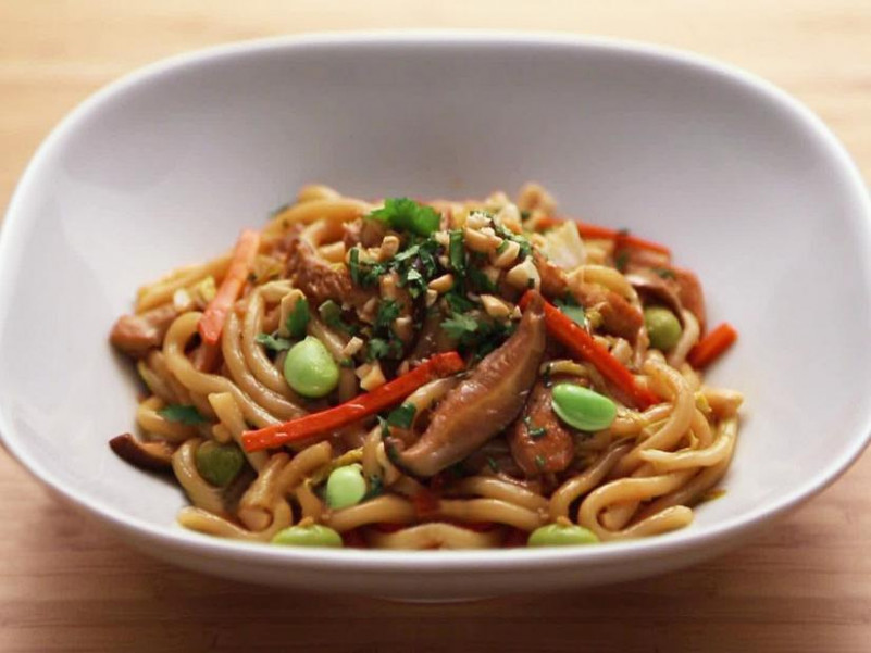 Chicken and Vegetable Stir-Fry with Udon Noodles Recipe ...