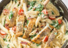 Chicken Bacon Spinach Pasta - The Cozy Cook