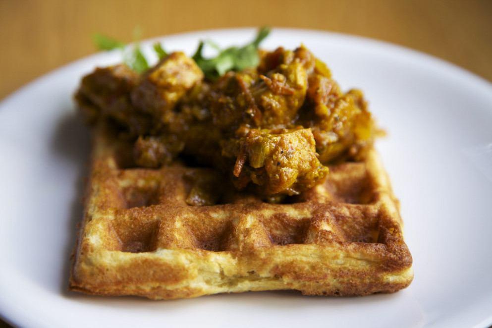 chicken curry waffles