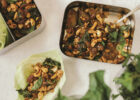 Chicken, Eggplant, and Basil Wraps with Cashews