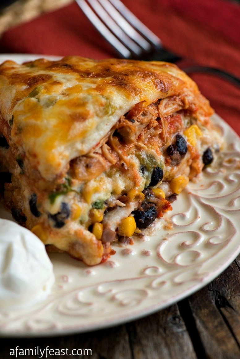Chicken Enchiladas with White Sauce - A Family Feast®