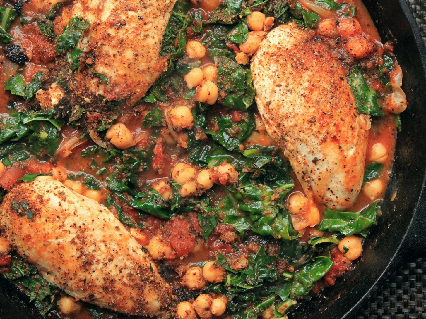 Chicken in Tomato Sauce With Chickpeas and Kale Recipe ...