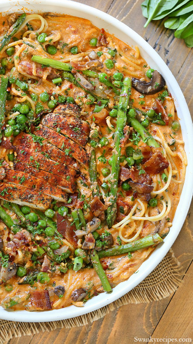 Chicken Mozzarella Spring Pasta - Swanky Recipes