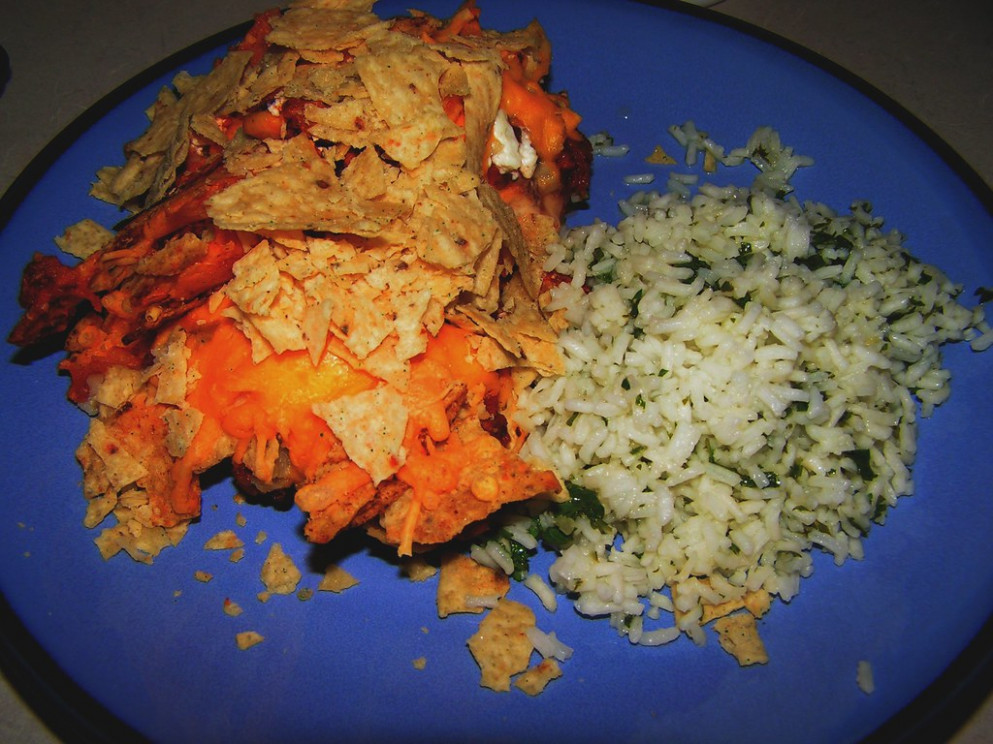 Chicken Nacho Bake & Cilantro Lime Rice