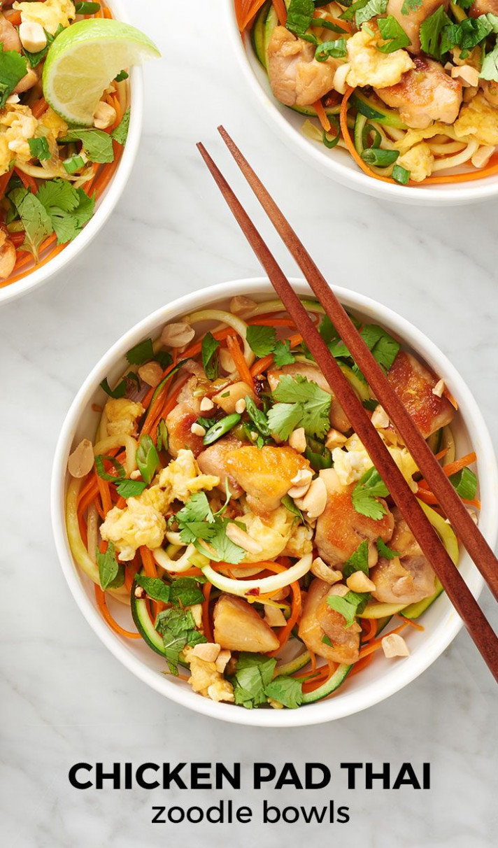 Chicken Pad Thai Zoodle Bowls   Recipe   Chicken Recipes ...