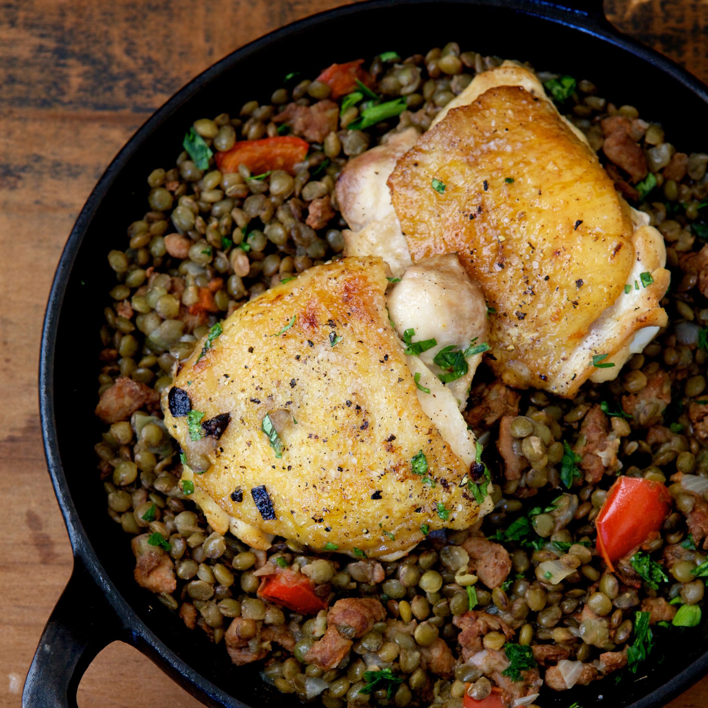 Chicken Thighs with Lentils, Chorizo, and Red Pepper ...