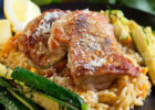 Chicken Thighs with Sweet Potato Orzo Risotto & Zucchini ...