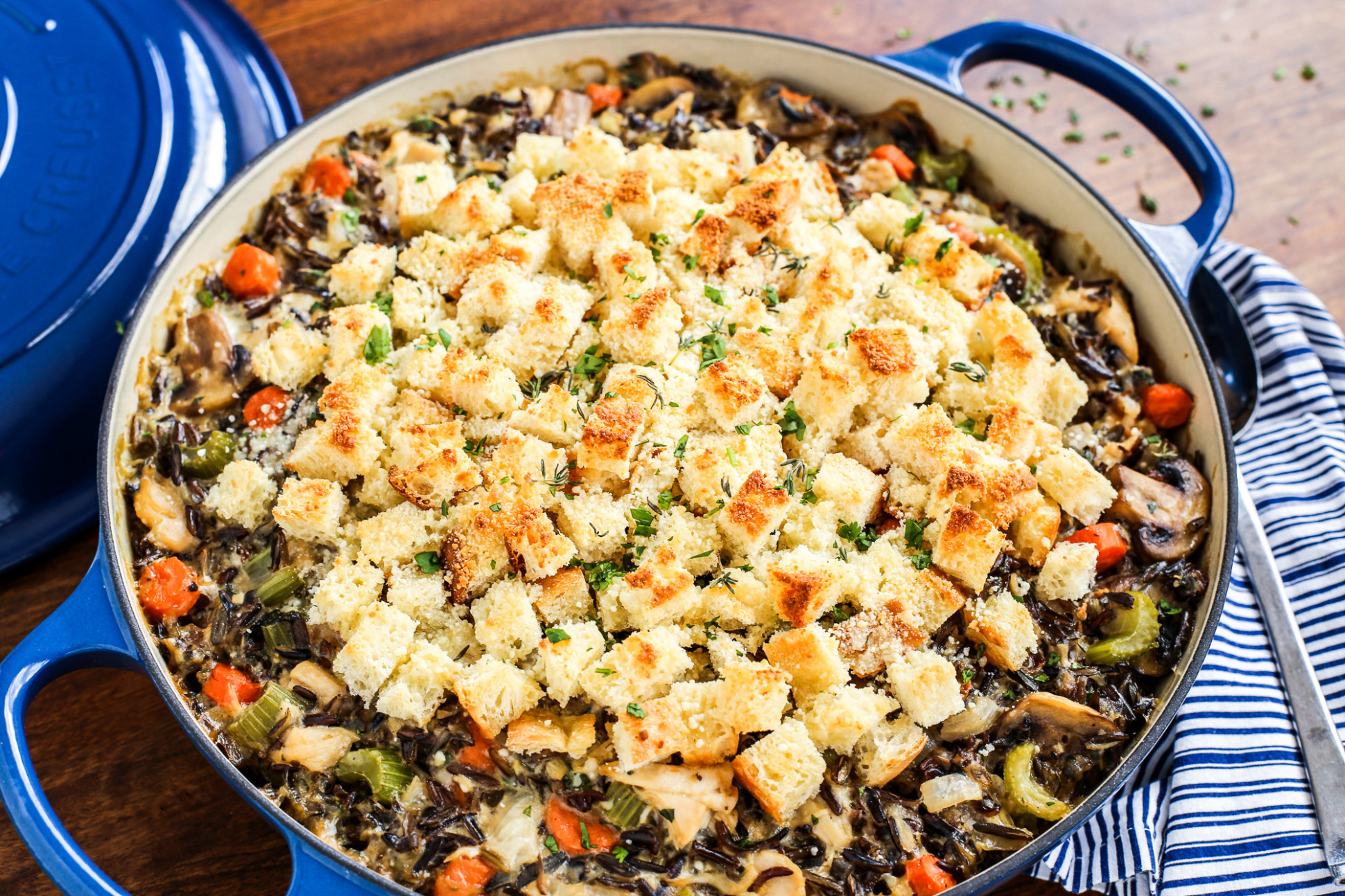 Chicken Wild Rice Casserole with Gruyere
