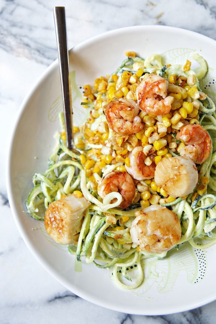 Chili Lime Shrimp & Scallops with Corn, Zucchini Noodles ...
