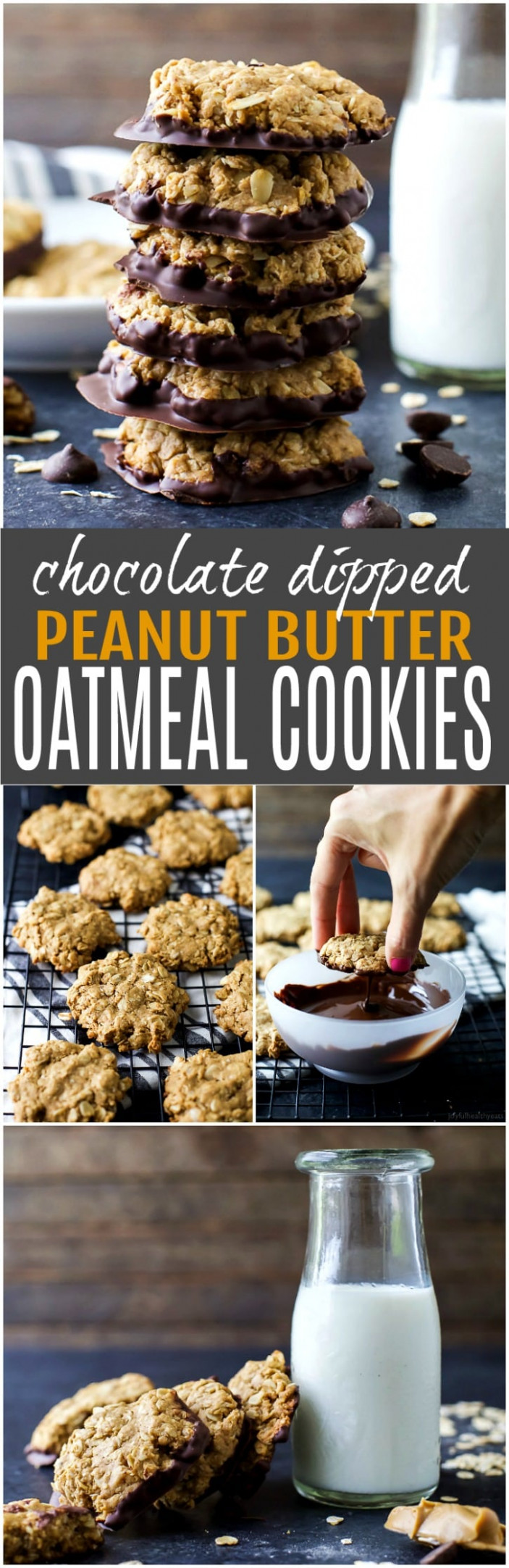 Chocolate Dipped Oatmeal Peanut Butter Cookies | Easy ...
